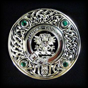 Greenshields Broach Clan Crest with Emeralds - custom
